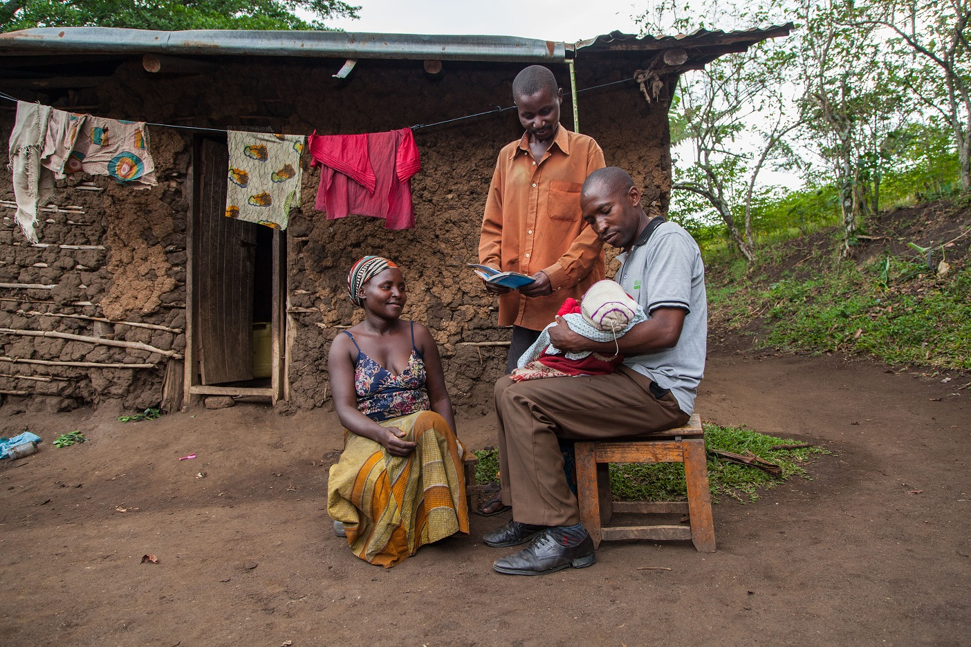 A social worker monitors the health of the infant